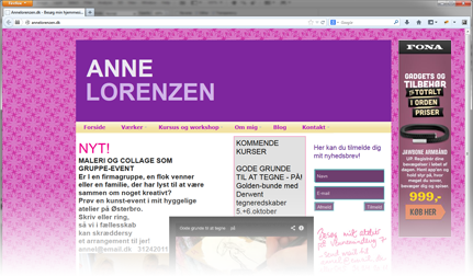 Example of advertising with Free website, advertisement placed visibly on the right side of over 50.000 websites